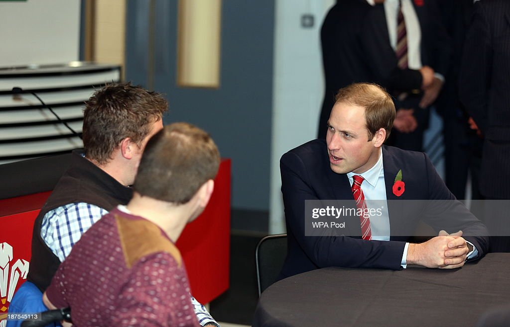 <a gi-track='captionPersonalityLinkClicked' href=/galleries/search?phrase=Prince+William&family=editorial&specificpeople=178205 ng-click='$event.stopPropagation()'>Prince William</a>, Duke of Cambridge t(R) alks with injured WRU players in the Ray Gravell Room coach during the Autumn International between Wales and South Africa at the Millennium Stadium on November 9, 2013 in Cardiff, Wales.
