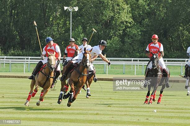 Prince William Duke of Cambridge takes aprt in the Audi Polo Challenge at Chester Racecourse on June 1 2011 in Chester England