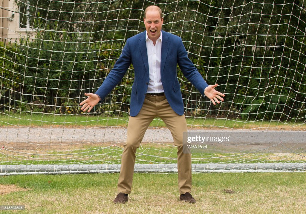 Prince William, Duke of Cambridge takes his turn in goal during a kick-about with the Lionesses and local girls team from the Wildcats Girl' Football programme on July 13, 2017 in London, England.