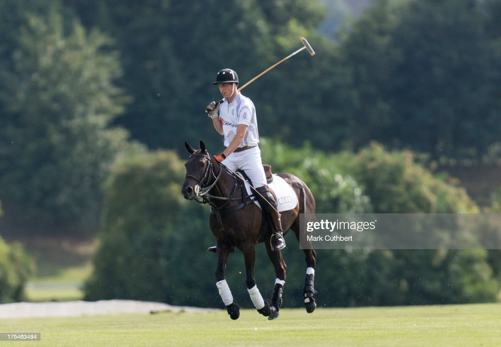 Prince William, Duke of Cambridge takes part in the Audi Polo Challenge at Coworth Park Polo Club on August 3, 2013 in Ascot, England.