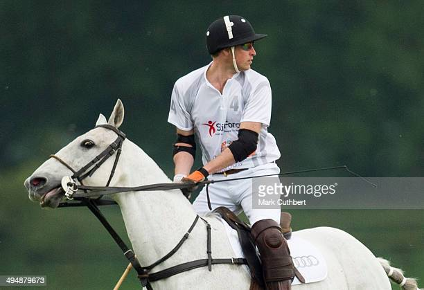 Prince William Duke of Cambridge takes part in the Audi Polo Challenge at Coworth Park Polo Club on May 31 2014 in Ascot EnglandÊ