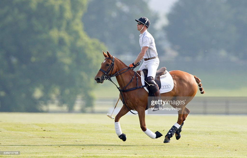 Prince William, Duke of Cambridge takes part in the Audi Polo Challenge at Coworth Park Polo Club on May 28, 2016 in Ascot, England.
