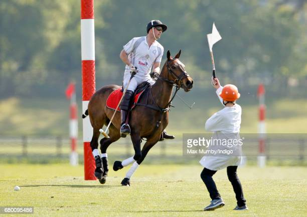 Prince William Duke of Cambridge takes part in the Audi Polo Challenge at Coworth Park Polo Club on May 7 2017 in Ascot England
