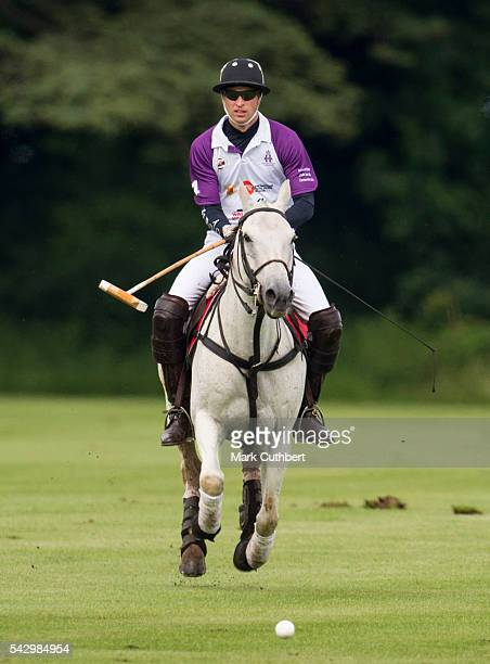 Prince William Duke of Cambridge takes part in The Jerudong Park Trophy at Cirencester Park Polo Club on June 25 2016 in Cirencester England