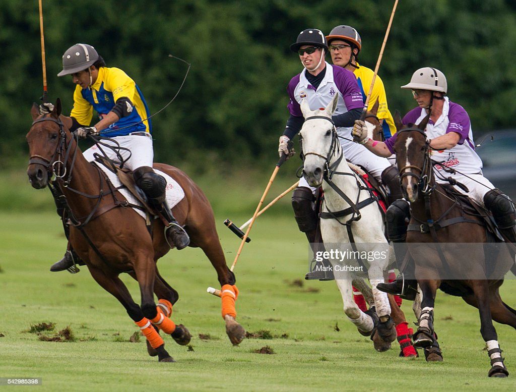 Prince William, Duke of Cambridge takes part in The Jerudong Park Trophy at Cirencester Park Polo Club on June 25, 2016 in Cirencester, England.
