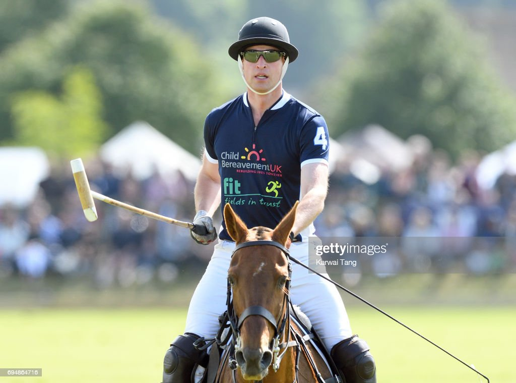 Prince William, Duke of Cambridge takes part in the Maserati Royal Charity Polo Trophy at Beaufort Polo Club on June 11, 2017 in Tetbury, England.