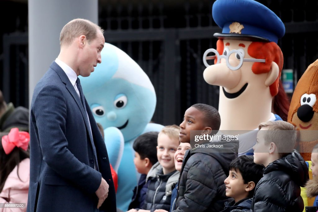 Prince William, Duke of Cambridge talks to children as he attends a 'Stepping Out' session at Media City on December 6, 2017 in Manchester, England. The session is a focus group where young people are able to give children's television editorial staff and content producers their view of how they respond to new programmes under production.
