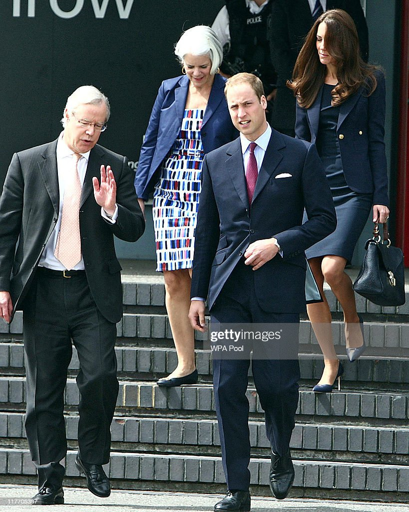 Prince William, Duke of Cambridge talks to James Wright (left), the Canadian High Commissioner to the United Kingdom while he and Catherine, Duchess of Cambridge (rear right) walk to board a plane of the Royal Canadian Air Force at London's Heathrow Airport on June 30, 2011 in London, England. The Duke and Duchess of Cambridge travel to Ottawa for their first overseas tour as a married couple, the 11 day tour will take them to Canada and then on to California.
