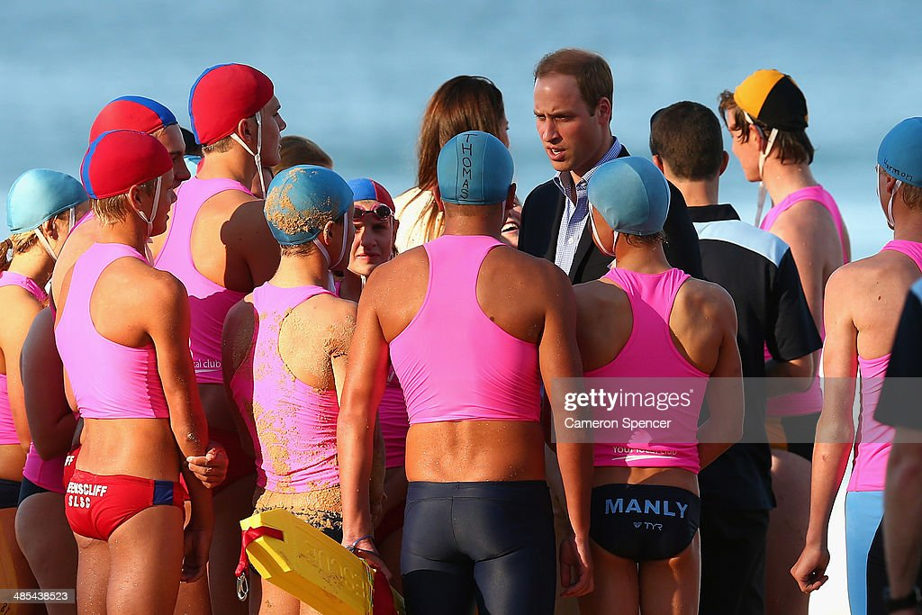 Prince William, Duke of Cambridge talks to surf life-savers at Manly Beach during a surf life-saving presentation on April 18, 2014 in Sydney, Australia. The Duke and Duchess of Cambridge are on a three-week tour of Australia and New Zealand, the first official trip overseas with their son, Prince George of Cambridge.