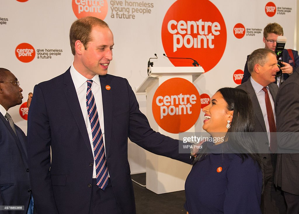 Prince William, Duke of Cambridge talks to winner of the Centrepoint Award for Media Sophia Kichou at the launch of the Centrepoint Awards at the HSBC private bank on November 19, 2015 in London, England. The event is the first awards ceremony for the youth homeless charity, celebrating the achievements of young people who have changed the direction of their lives after experiencing homelessness.