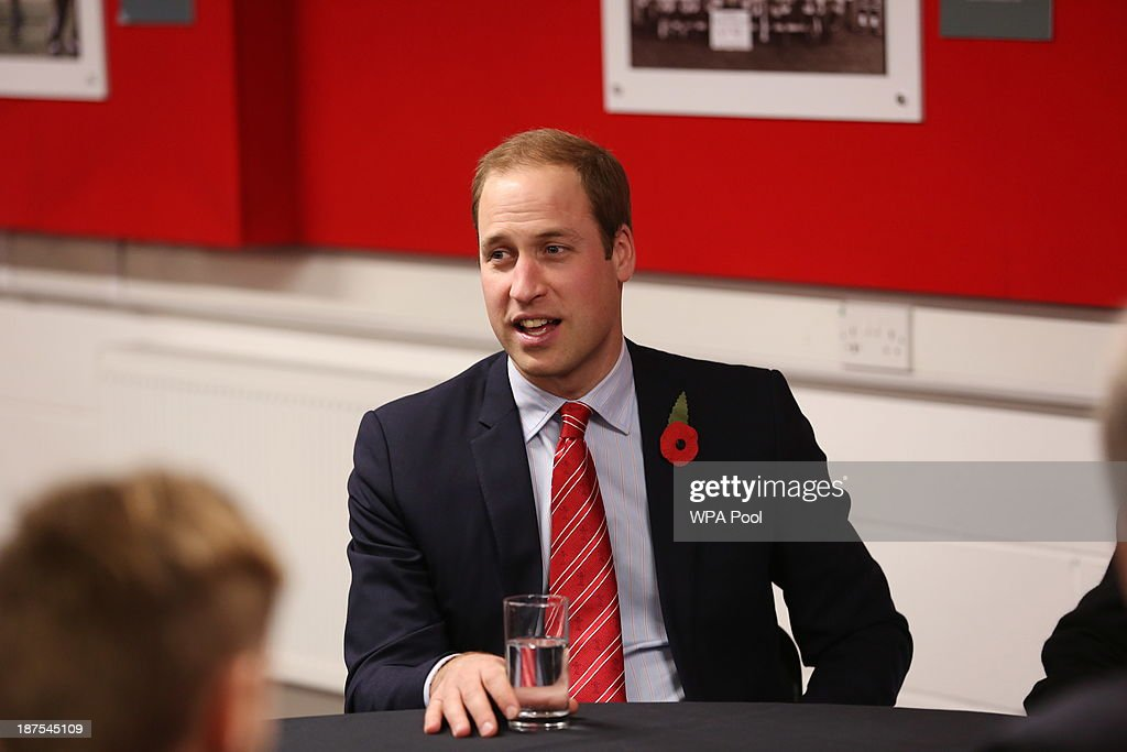 Prince William, Duke of Cambridge talks with injured WRU players in the Ray Gravell Room coach during the Autumn International between Wales and South Africa at the Millennium Stadium on November 9, 2013 in Cardiff, Wales.