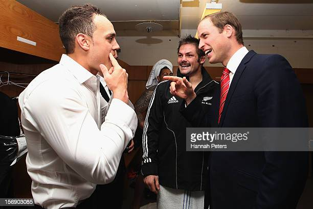 Prince William Duke of Cambridge talks with Richie McCaw and Israel Dagg of the All Blacks following the international match between Wales and New...