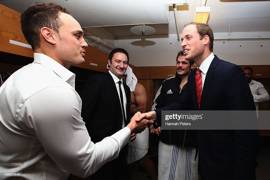 Prince William, Duke of Cambridge talks with Richie McCaw and Israel Dagg of the All Blacks following the international match between Wales and New Zealand at Millennium Stadium on November 24, 2012 in Cardiff, Wales.