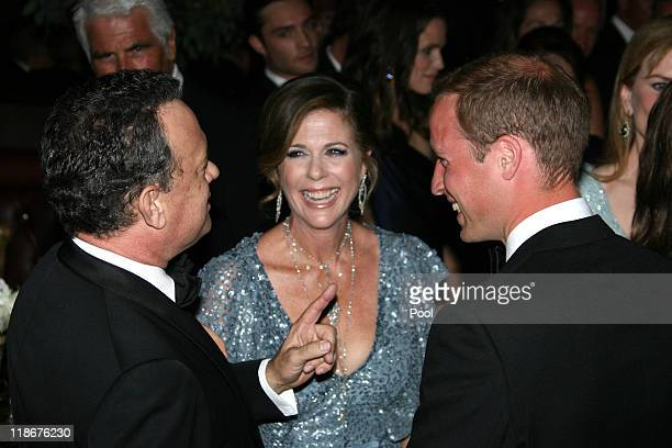 Prince William Duke of Cambridge Tom Hanks and Rita Wilson attend the BAFTA 'Brits to Watch' event held at the Belasco Theatre on July 9 2011 in Los...