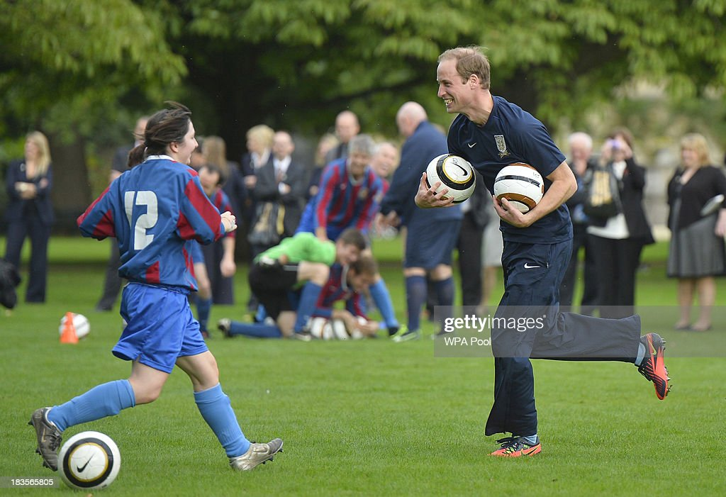 <a gi-track='captionPersonalityLinkClicked' href=/galleries/search?phrase=Prince+William&family=editorial&specificpeople=178205 ng-click='$event.stopPropagation()'>Prince William</a>, Duke of Cambridge trains with players in the grounds of Buckingham Palace to mark the Football Association's 150th anniversary, on October 7, 2013 in London, England. The President of the Football Association, <a gi-track='captionPersonalityLinkClicked' href=/galleries/search?phrase=Prince+William&family=editorial&specificpeople=178205 ng-click='$event.stopPropagation()'>Prince William</a>, Duke of Cambridge, will host the football match between Civil Service FC and Polytechnic FC, and will also host a reception to celebrate The FA's 150 grassroot heroes.