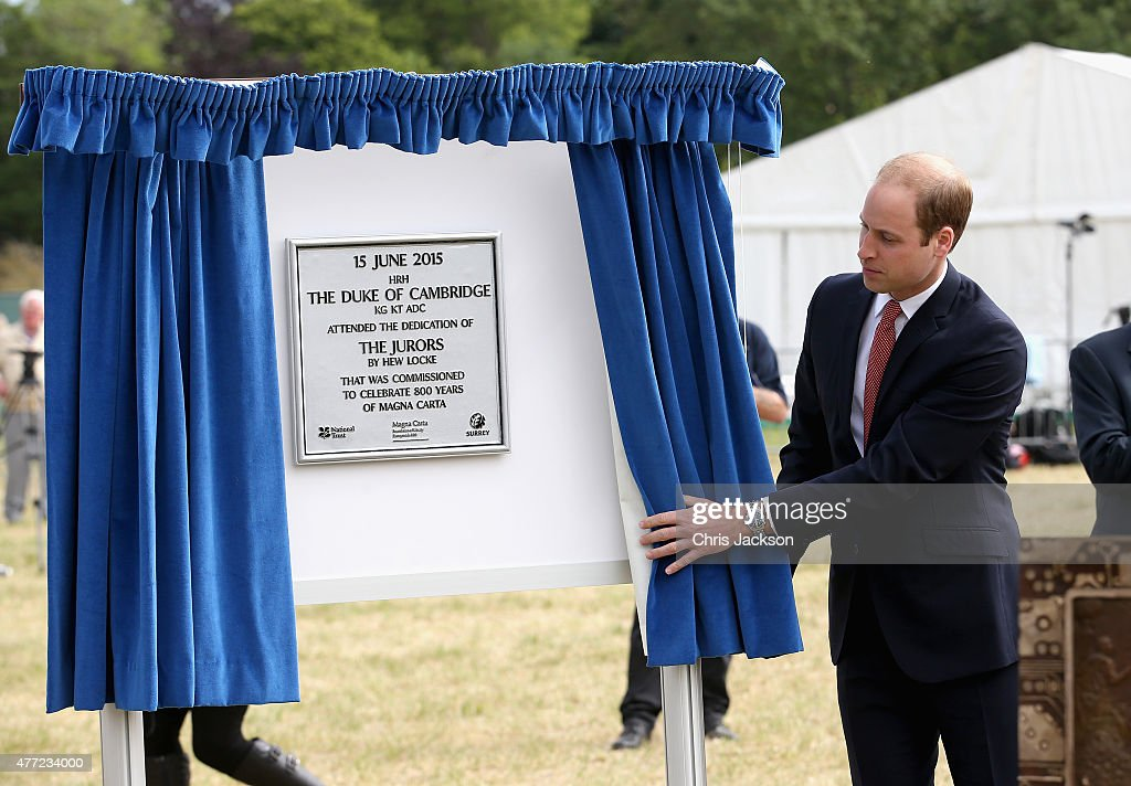 Prince William, Duke of Cambridge unveils a plaque at a Magna Carta 800th Anniversary Commemoration Event on June 15, 2015 in Runnymede, United Kingdom. Members of the Royal Family are visiting Runnymede to attend an event commemorating the 800th anniversary of Magna Carta. Magna Carta is widely recognised as one of the most significant documents in history. Its influence, as a cornerstone of fundamental liberties, is felt around the world in the constitutions and political traditions of countless nations.