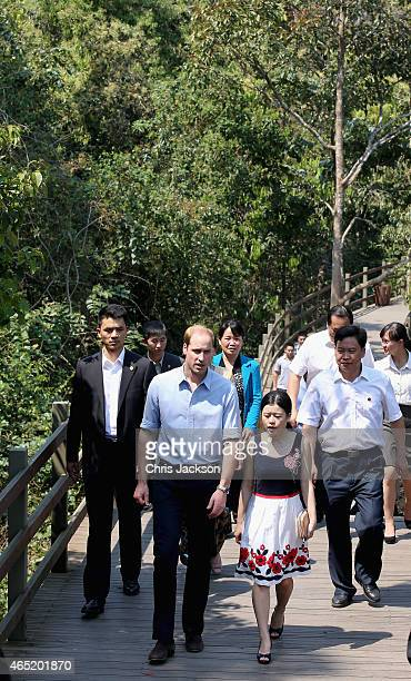 Prince William Duke of Cambridge visits an Elephant Walkway on March 4 2015 in Xishuangbanna China Prince William Duke of Cambridge is on a four day...
