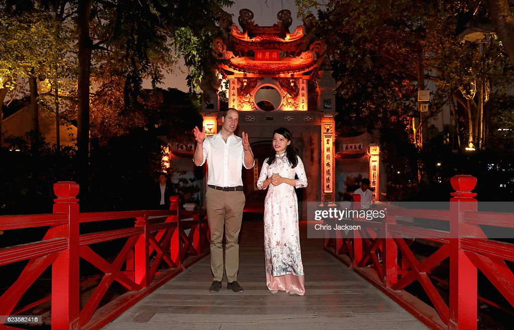 Prince William, Duke of Cambridge visits Ngoc Son Temple during a two day visit to Vietnam on November 16, 2016 in Hanoi, Vietnam. The Duke is in Vietnam primarily to attend the third International Conference on the Illegal Wildlife Trade.