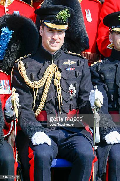 Prince William Duke Of Cambridge visits The 1st Battalion Irish Guards for the St Patrick's Day parade on March 17 2016 in London United Kingdom