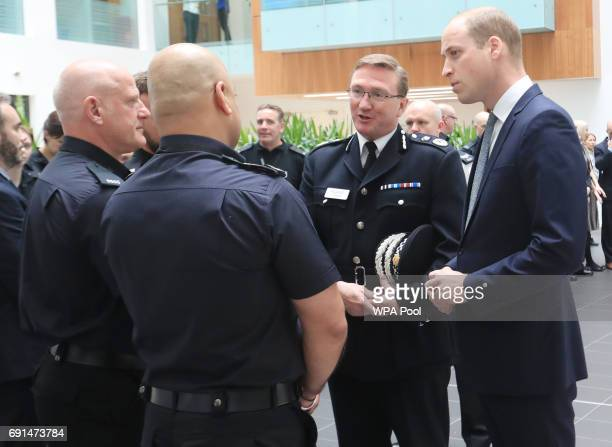 Prince William Duke of Cambridge visits the headquarters of Greater Manchester Police where he met those involved in the response of last week's...
