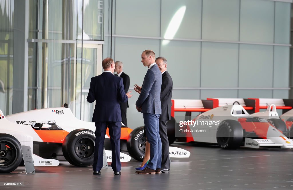 Prince William, Duke of Cambridge visits the McLaren Automotive at McLaren Technology Centre on September 12, 2017 in Woking, England.