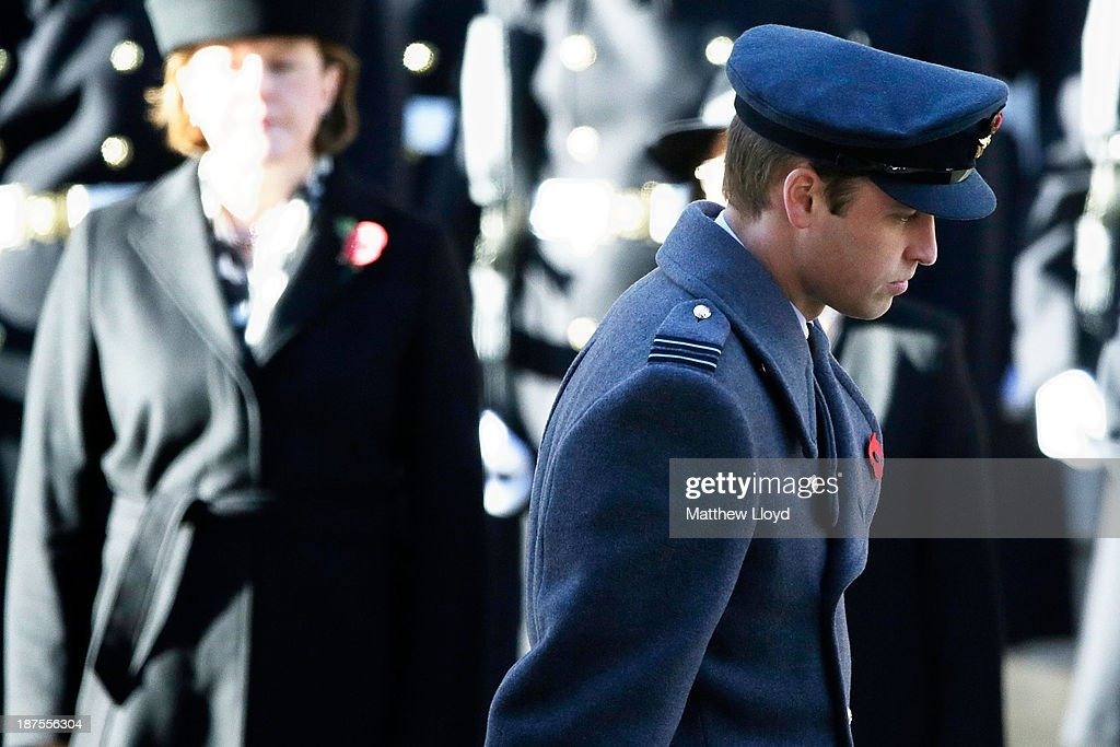 Prince William, Duke of Cambridge walks back to his place after laying a wreath on the Cenotaph during the annual Remembrance Day service on Whitehall on November 10, 2013 in London, United Kingdom. People across the UK gathered to pay tribute to service personnel who have died in the two World Wars and subsequent conflicts, as part of the annual Remembrance Sunday ceremonies.