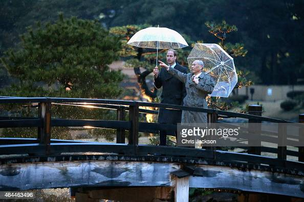 Prince William Duke of Cambridge walks over a traditional Japanese bridge in Hama Rikyu Gardens with Tokyo Governor Yoichi Masuzoe on the first day...