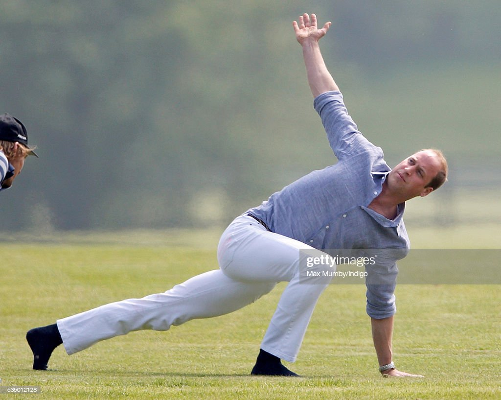 Prince William, Duke of Cambridge warms up before talking part in the Audi Polo Challenge at Coworth Park Polo Club on May 28, 2016 in Ascot, England.