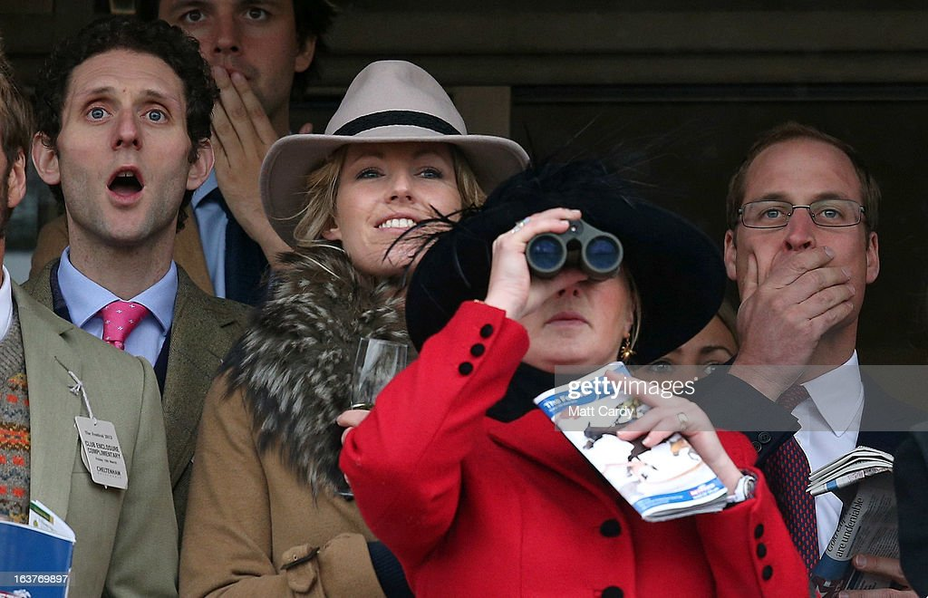 <a gi-track='captionPersonalityLinkClicked' href=/galleries/search?phrase=Prince+William&family=editorial&specificpeople=178205 ng-click='$event.stopPropagation()'>Prince William</a>, Duke of Cambridge (R) watches the races on with other racegoers on Gold Cup Day at Cheltenham Racecourse on the fourth and final day of the Cheltenham Festival 2013 on March 15, 2013 in Cheltenham, England. Approximately 200,000 racing enthusiasts are expected at the four-day festival, which ends today and is seen as many as the highlight of the jump racing calendar on March 12, 2013 in Cheltenham, England.
