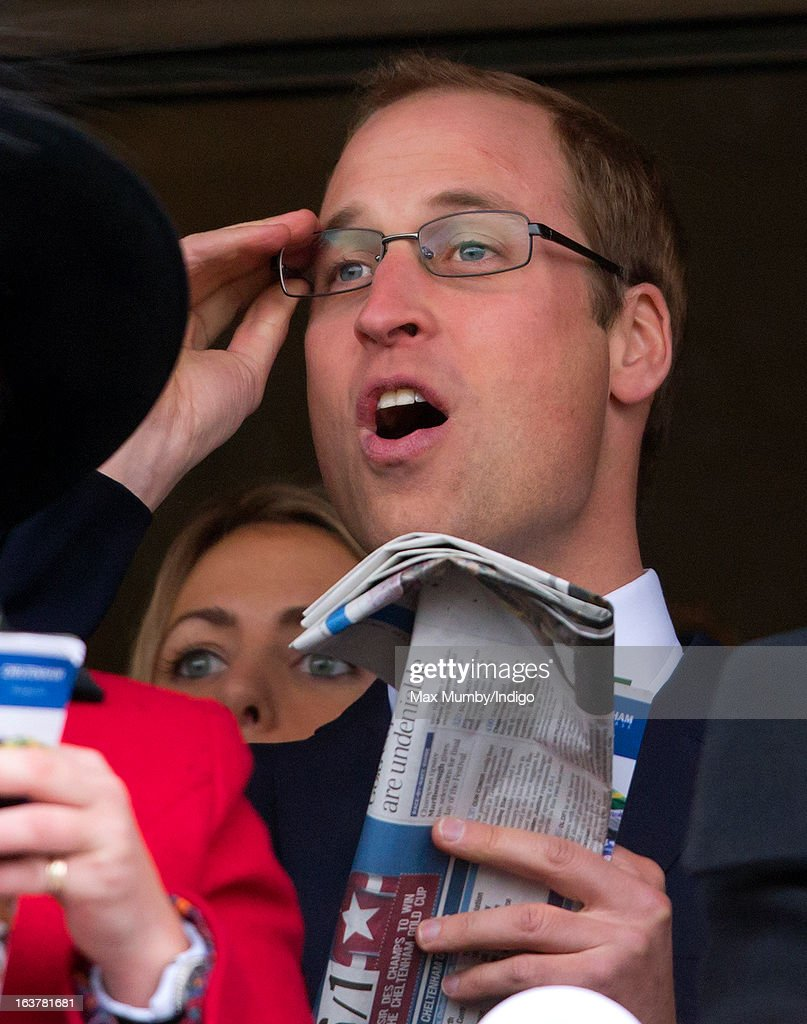 Prince William, Duke of Cambridge watches the racing as he attends Day 4 of The Cheltenham Festival at Cheltenham Racecourse on March 15, 2013 in London, England.