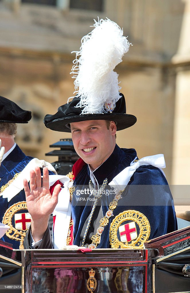 <a gi-track='captionPersonalityLinkClicked' href=/galleries/search?phrase=Prince+William&family=editorial&specificpeople=178205 ng-click='$event.stopPropagation()'>Prince William</a>, Duke of Cambridge waves to the crowd as he attends the Order of the Garter procession and service at Windsor Castle on June 18, 2011 in Windsor, England. The Order of the Garter is the senior and oldest British Order of Chivalry, founded by Edward III in 1348. Membership in the order is limited to the sovereign, the Prince of Wales, and no more than twenty-four members.