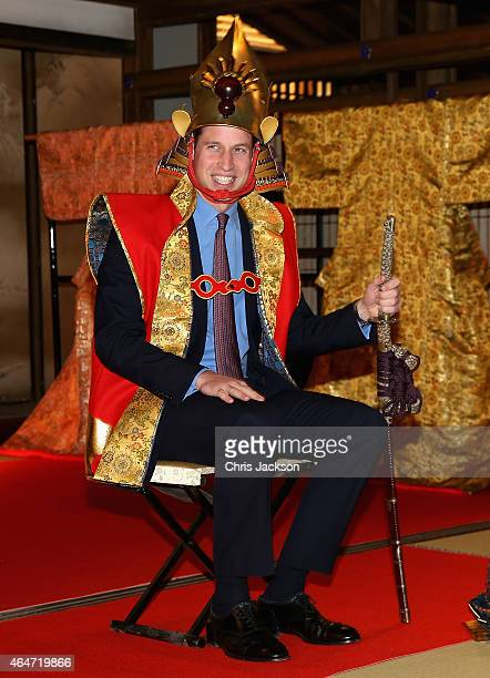 Prince William Duke of Cambridge wears a traditional Japanese King's Costume during a visit to the set of a historical drama at NHK Public...