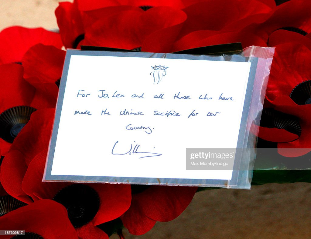 Prince William, Duke of Cambridge's hand written note on his poppy wreath which he laid at the Cenotaph during the annual Remembrance Sunday Service on November 10, 2013 in London, United Kingdom. People across the UK gathered to pay tribute to service personnel who have died in the two World Wars and subsequent conflicts, as part of the annual Remembrance Sunday ceremonies.