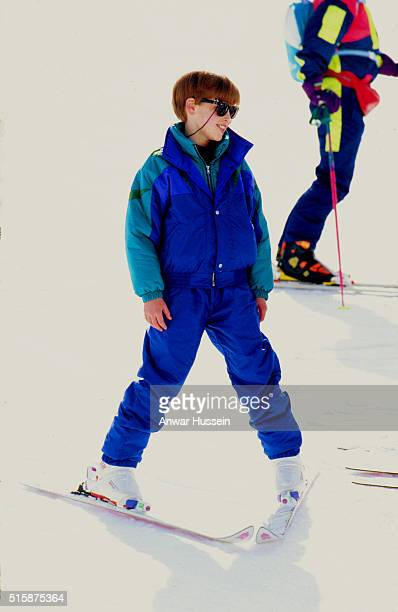 Prince William during a skiing holiday with his mother Diana Princess of Wales who at the time was undergoing her break up from Prince Charles on...