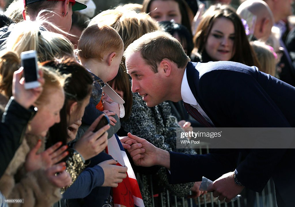 <a gi-track='captionPersonalityLinkClicked' href=/galleries/search?phrase=Prince+William&family=editorial&specificpeople=178205 ng-click='$event.stopPropagation()'>Prince William</a>, Earl of Strathearn greets well wishers as he arrives at the Donald Dewer Leisure centre on April 4, 2013 in Glasgow, Scotland. The Emirates Arena will play host to several events at the 2014 Glasgow Commonwealth Games.