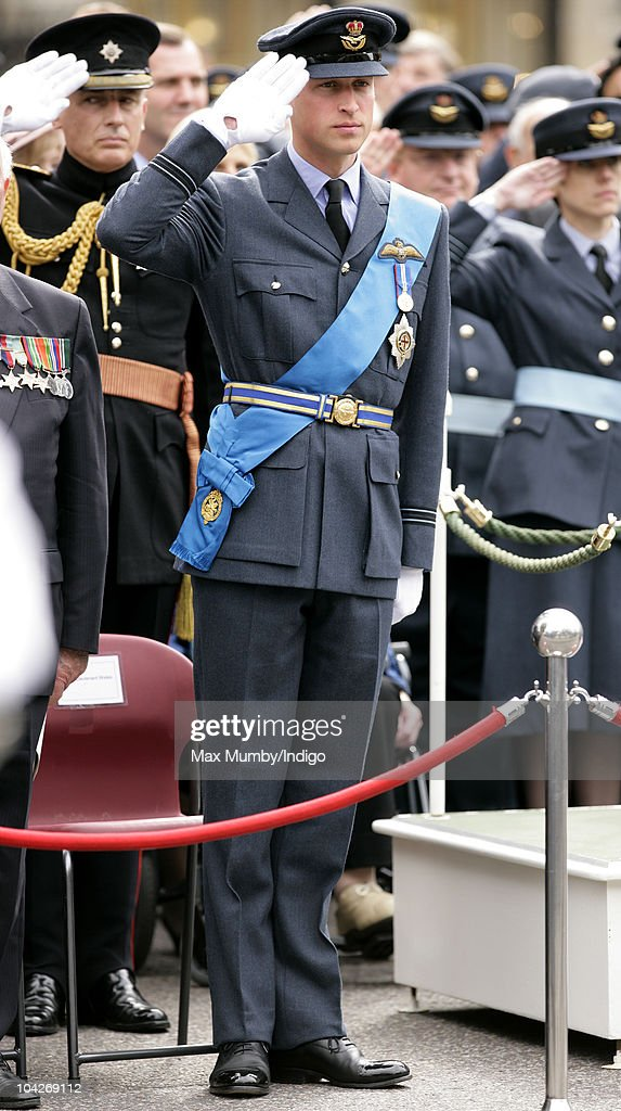 Prince William, Flight Lieutenant Wales watches the parade and flypast as he attends the Battle of Britain 70th Anniversary Service at Westminster Abbey on September 19, 2010 in London, England.The battle took place in 1940 when the RAF defended the country against Germany's attempt at air superiority. Veterans of the battle also attended the service to commemorate the occasion.