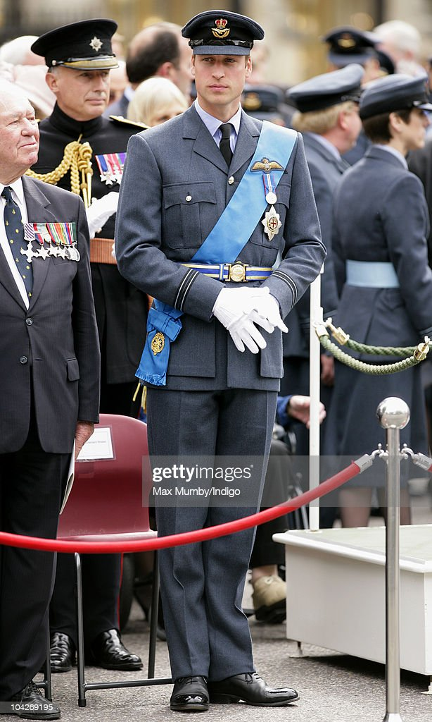 Prince William, Flight Lieutenant Wales, watches the parade and flypast as he attends the Battle of Britain 70th Anniversary Service at Westminster Abbey on September 19, 2010 in London, England.The battle took place in 1940 when the RAF defended the country against Germany's attempt at air superiority. Veterans of the battle also attended the service to commemorate the occasion.