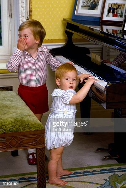 Prince William Giggling With His Hand Over His Mouth As He And His Baby Brother Prince Harry Pretend To Play The Piano During A Private Photo Session...