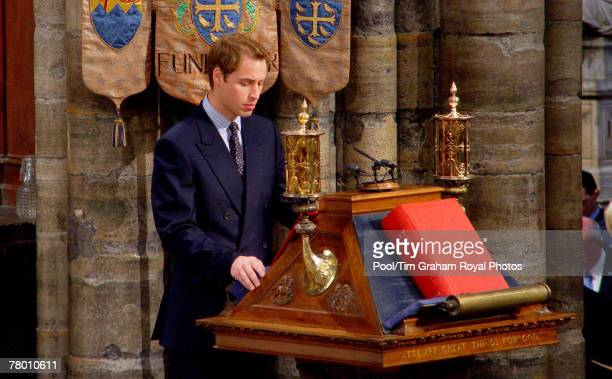 Prince William gives a religious reading during a service of thanksgiving to celebrate the Queen and Prince Philip's Diamond Wedding Anniversary at...