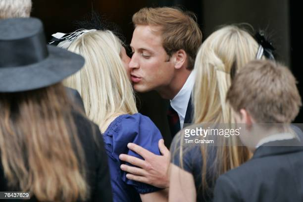 Prince William greets his cousin Kitty Spencer as the congregation leave the 10th Anniversary Memorial Service For Diana Princess of Wales at Guards...