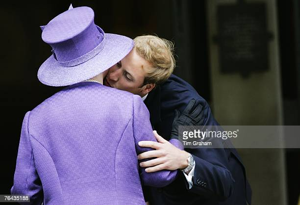 Prince William greets his grandmother Queen Elizabeth II at the 10th Anniversary Memorial Service for their mother Diana Princess of Wales at Guards...
