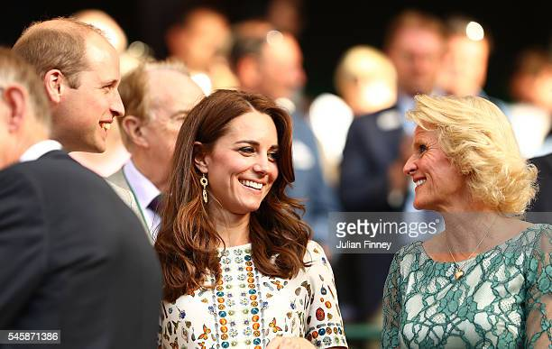 Prince William HRH The Duke of Cambridge and Catherine HRH The Duchess of Cambridge and Gill Brook watch on as Heather Watson of Great Britain and...