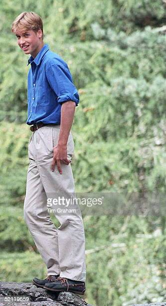 Prince William In Chino Trousers And Loafer Shoes At Muick Falls Glen Muick On The Balmoral Castle Estate