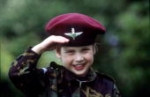 Prince William In Parachute Regiment Uniform In The Gardens Of His Home Highgrove House Saluting