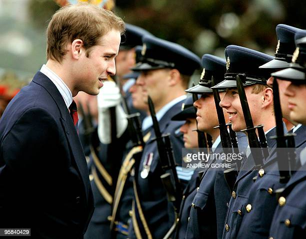 Prince William inspects the Guard of Honour at the National War Memorial in Wellington before opening the new Supreme High Court in Wellington as...