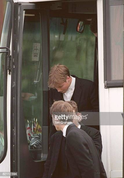 Prince William Keeping His Head Down As He Leaves The Coach At The Eton Boys' Tea Party At The Guards Polo Club Windsor