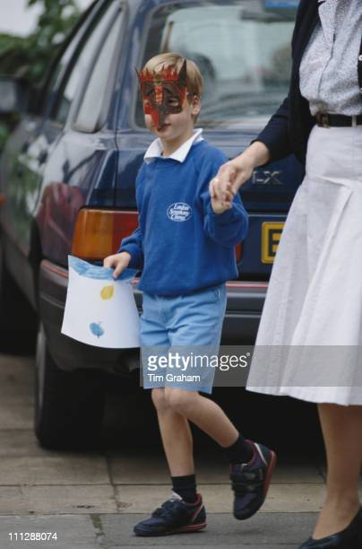 Prince William leaves Mrs Mynor's Nursery School at Chepstow Villas in west London circa 1987