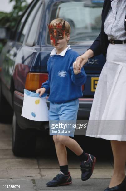 Prince William leaves Mrs Mynor's Nursery School at Chepstow Villas in west London circa 1987