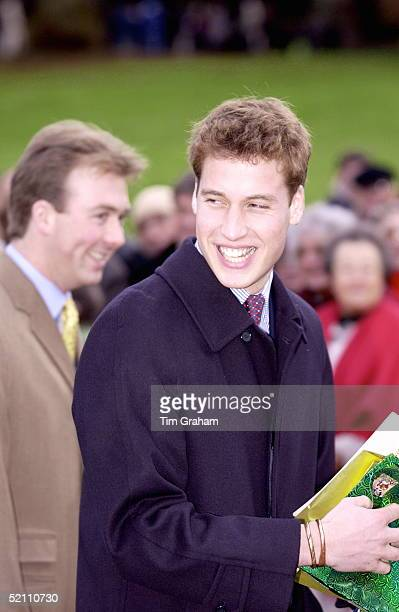 Prince William Leaving Church On Christmas Day At Sandringham Bearing Gifts Given To Him By People In The Crowd He Is Wearing His Copper Bracelets...