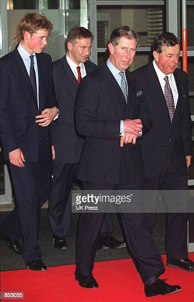 Prince William left and his father The Prince of Wales center attend the Press Complaints Commission's 10th Anniversary Reception at London's...